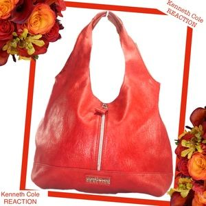 KENNETH COLE REACTION Coral Red Slouchy Hobo